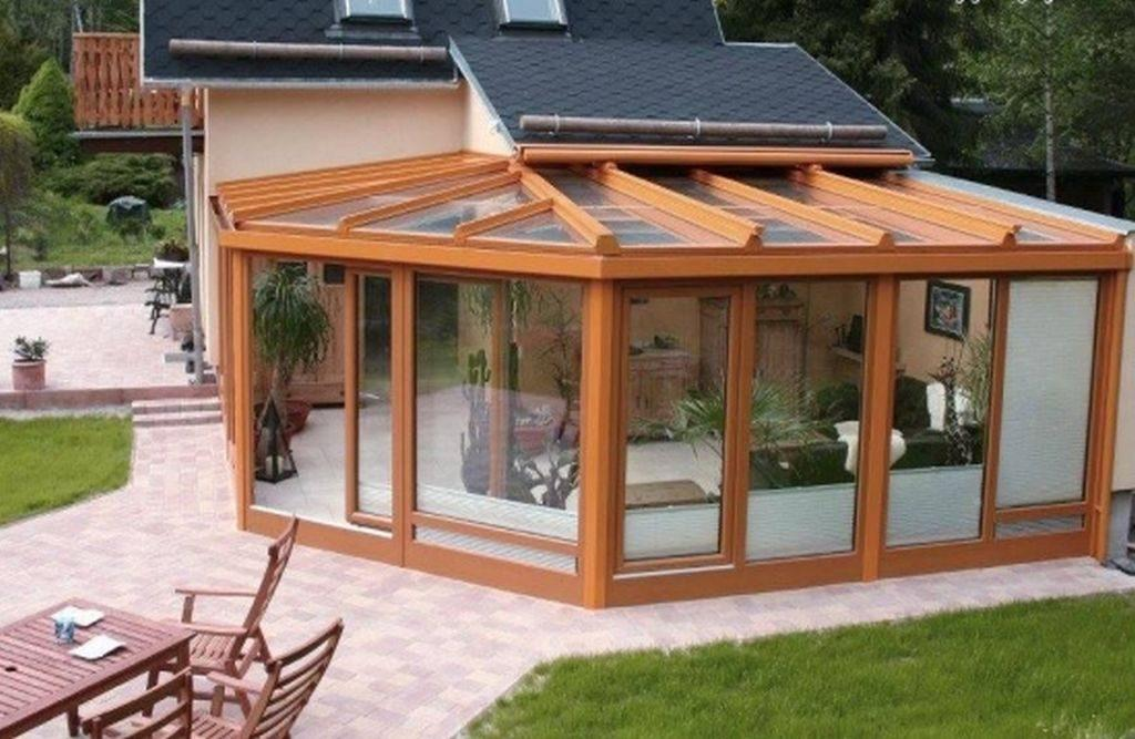 terasa lemn tip inchisa termopan pentru sezonul de vara protectie de vant si ploaie
